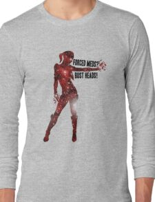 Mass Effect Silhouettes, Jack - Forced Meds? Bust Heads! Long Sleeve T-Shirt