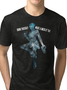 Mass Effect Silhouettes, Liara - Burn Thessia? Make a Mess o' Ya! Tri-blend T-Shirt