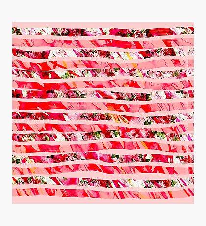 Pink Watercolor Rose Floral Brush Stroke Stripes Photographic Print