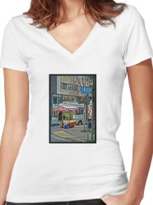 Street food stall in Istanbul Women's Fitted V-Neck T-Shirt