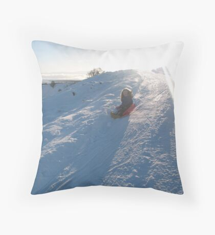 Sledging in the winter sun Throw Pillow