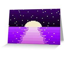 Pixel Setting Moon Greeting Card