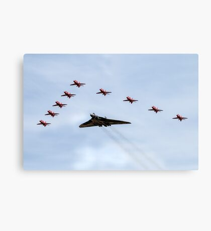 Red Arrows with XH558 Canvas Print