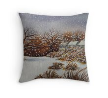 snow scene with snow covered trees and cottages painting  Throw Pillow