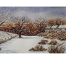 snow scene with snow covered trees and cottages painting  Photographic Print