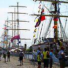 Along the Docks - Antwerp -Tall Ships Race 2010 by Gilberte