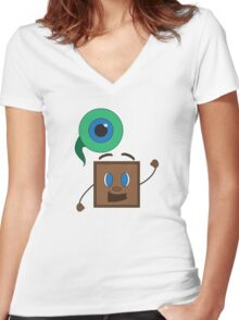 Septiceye Sam & Tiny Box Tim Women's Fitted V-Neck T-Shirt