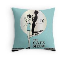 Gatsby Girl Flapper The Cat's Meow (blue and silver) Throw Pillow