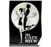Gatsby Girl Flapper The Cat's Meow (black, silver & pearl) Poster