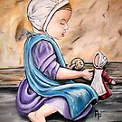 Amish Child at Play by Pamela Plante