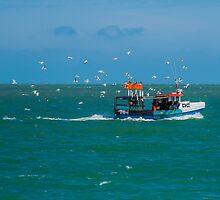 Fishing boat off the coast of Broadstairs, Kent by Luke Farmer