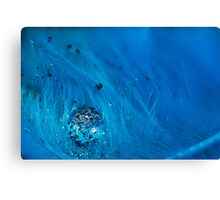 Blue Pigment on Water Droplet and Feather Canvas Print