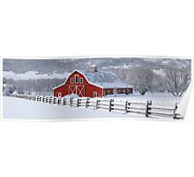 Winter Barn Panorama Poster