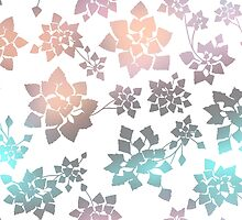Water caltrop pattern in white and pastel ombre by ravynka