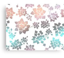 Water caltrop pattern in white and pastel ombre Canvas Print