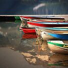 Boat Reflections Cameron Lake by Vickie Emms