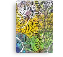 Yellow & Green Abstract Metal Print