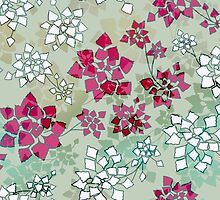 Water caltrop pattern in gray, pale green and pink by ravynka