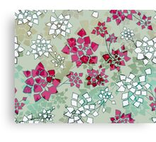 Water caltrop pattern in gray, pale green and pink Canvas Print