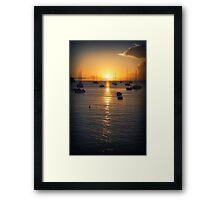 Sea Sunset Waves Framed Print
