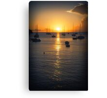 Sea Sunset Waves Canvas Print