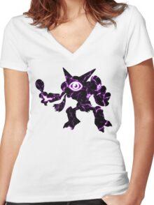 Pokemon Alakazam psychic fracture Women's Fitted V-Neck T-Shirt