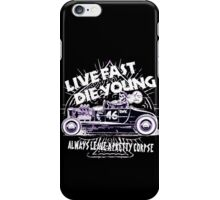 Hot Rod Live Fast Die Young - White & Pink Neon (alpha bkground) iPhone Case/Skin
