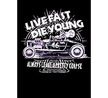 Hot Rod Live Fast Die Young - White & Pink Neon (alpha bkground) Photographic Print
