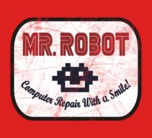 Mr Robot - Computer Repairs With A Smile Badge Kids Clothes