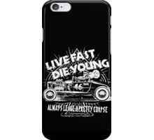 Hot Rod Live Fast Die Young - White (alpha bkground) iPhone Case/Skin