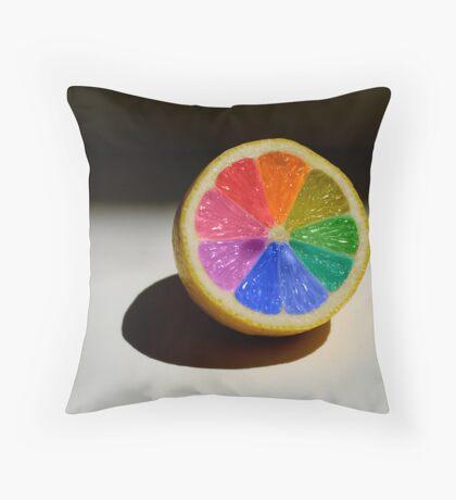 Lemon Colour Wheel Throw Pillow