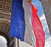 French flag under the Arc de Triumph by Imagebydg