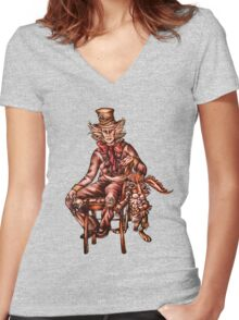 Mad Hatter with March Hare Drawing Women's Fitted V-Neck T-Shirt