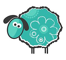 Blue Lucky Sheep Vector Illustration Photographic Print