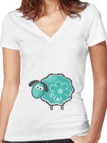 Blue Lucky Sheep Vector Illustration Women's Fitted V-Neck T-Shirt