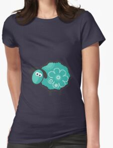 Blue Lucky Sheep Vector Illustration Womens Fitted T-Shirt