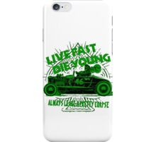 Hot Rod Live Fast Die Young - Green (alpha bkground) iPhone Case/Skin