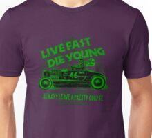 Hot Rod Live Fast Die Young - Green (alpha bkground) Unisex T-Shirt