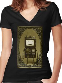 Steampunk B-MO Adventure time.  Women's Fitted V-Neck T-Shirt