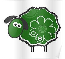 Kawaii Green Lucky Sheep Vector Illustration Poster