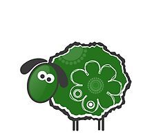 Kawaii Green Lucky Sheep Vector Illustration by EveStock
