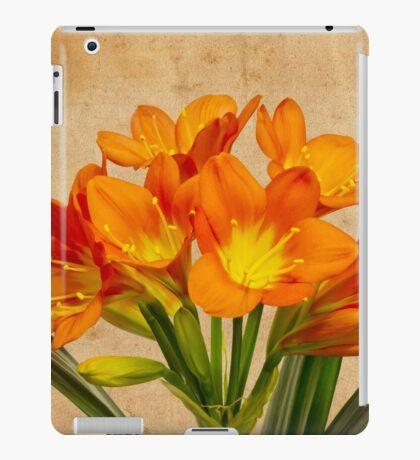 Orange Clivia Lily Blossoms - Textured  iPad Case/Skin
