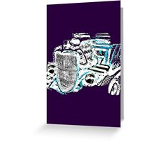 Hot Rod (inverted colours) (alpha bkground for dark tshirts) Greeting Card
