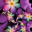 Rainbow Flowers Growing in Purple Clouds by lacitrouille