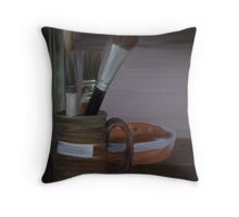 Pottery Brushes Throw Pillow