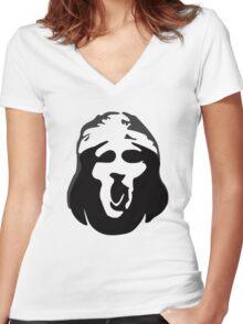 Scream Face Women's Fitted V-Neck T-Shirt