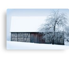 OLD BARN IN WINTER Canvas Print