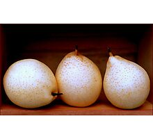 Three Pretty Pears in a Wooden Box Photographic Print
