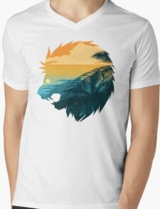 Angry lion from the jungle Mens V-Neck T-Shirt
