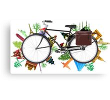 Global Bicycle round the world - save the planet design Canvas Print